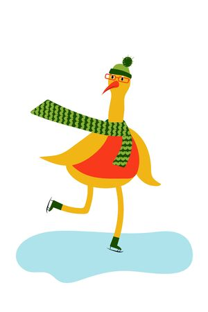 Cute character. Goose bird in winter clothes skating. winter sport. vector. illustration Banque d'images - 133662097