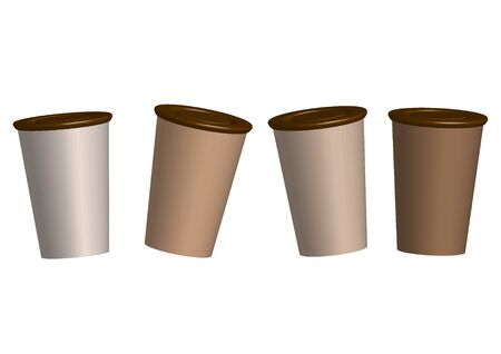 Models of paper and plastic cups for coffee and tea. vector. illustration Banque d'images - 133662098