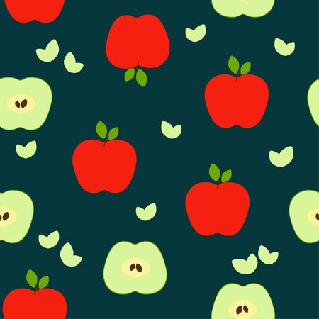 Seamless pattern: apples and halves of apples in vector flat style on a dark background. illustration Banque d'images - 133662100