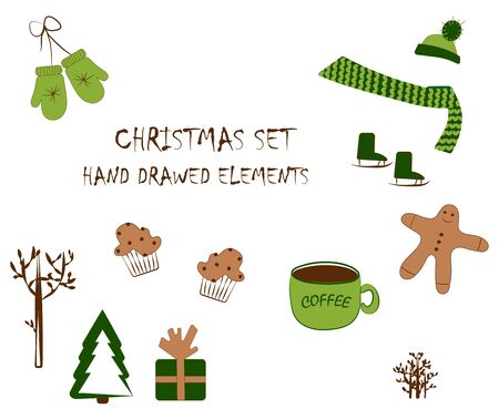 Christmas icons in green and brown on a white background. Isolated elements for the new year. vecto Banque d'images - 133662109