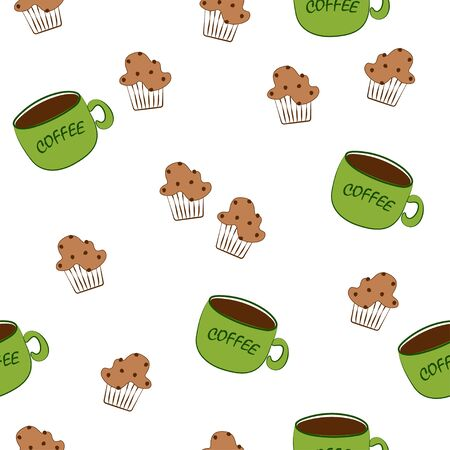 Seamless pattern: isolated cookies and coffee on a white background in flat vector style. illustration Banque d'images - 133662124