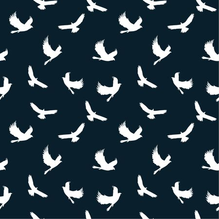 Seamless pattern: white silhouettes of birds on a dark background. vector. illustration Banque d'images - 133662125