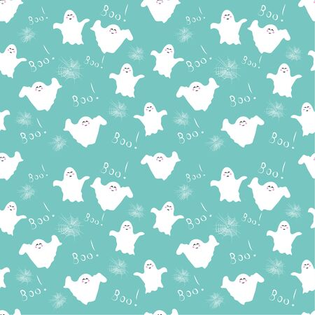Seamless pattern: cute childish character in white on a blue background. Can be used for children's fabrics. vector. illustration Banque d'images - 133662126