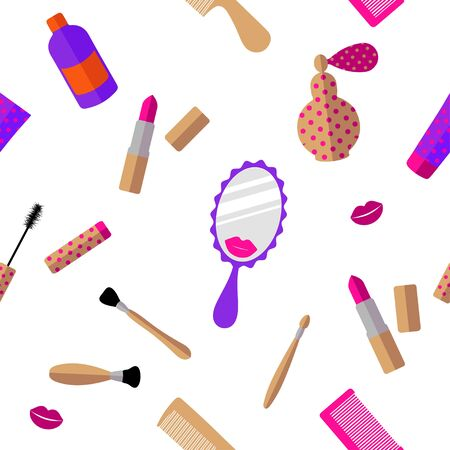 Seamless pattern: cosmetics and accessories in pink and beige color on a white background. flat vector. illustration