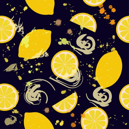 Seamless pattern: lemons and doodles on a blue background. flat vector. illustration