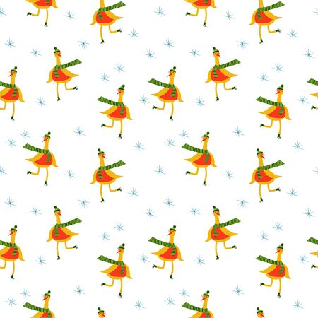 New Year seamless pattern. Isolated cute bird ice skating on a white background. vector. illustration