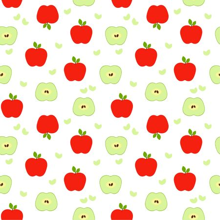 Seamless pattern: green and red isolated apples and halves of apples on a white background. Flat vector. illustration
