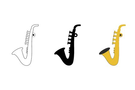 Saxophone musical instrument in three variations on a white background. vector. illustration