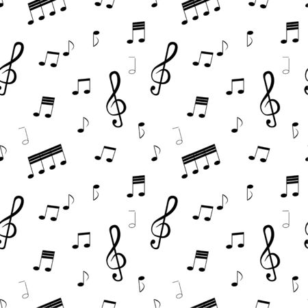 Seamless pattern: musical notes and musical key in black on a white background. vector. illustration