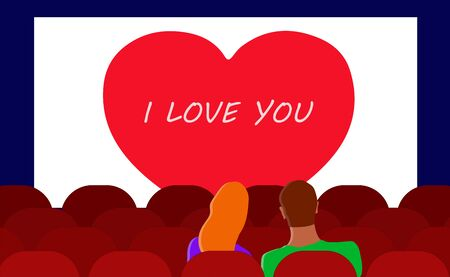 A sweetheart couple on a date in the back seats of a movie theater on Valentine's Day. vector. illustration. Illusztráció