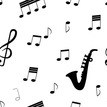 Seamless pattern: isolated musical signs and musical instrument saxafon in black on a white background. vector. illustration
