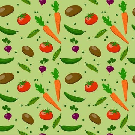Seamless pattern: multi-colored appetizing vegetables in a flat vector style on a green background. vector. illustration