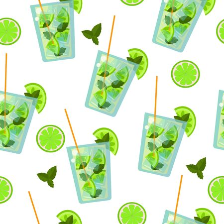 Seamless pattern: isolated mojito cocktails with lime and mint on a white background. Invigorating background from a drink. flat vector. illustration