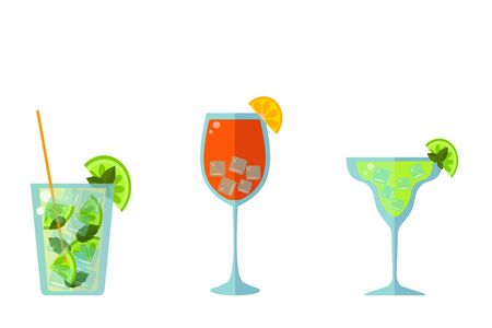 Low alcohol cocktails: mojito, margarita and Spritz on a white background. flat vector. illustration