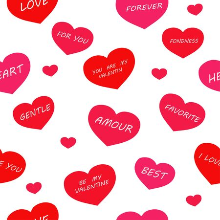 Seamless pattern: isolated hearts with the words for Valentines Day on a white background. vector. illustration
