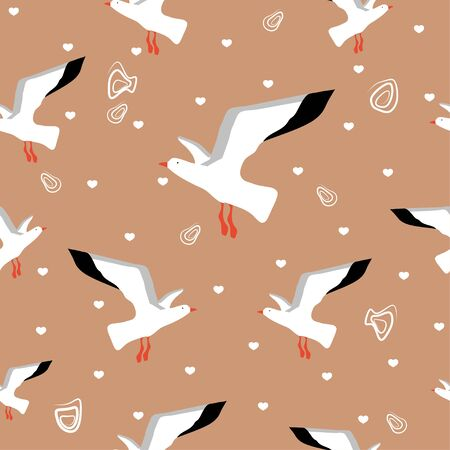 Seamless pattern: birds, seagulls, doodles and hearts on a beige background. can be used for fabric. vector. illustration