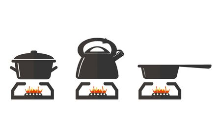 Isolated skillet, teapot and pan in flat vector style on a white background. illustration