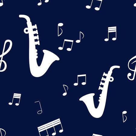 Seamless pattern: saxophone musical instrument and white musical notes on a blue background. vector. illustration