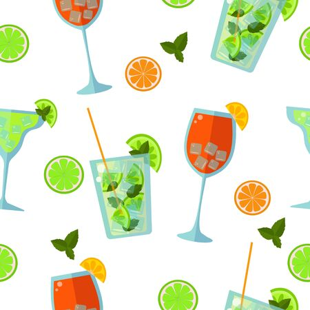 Seamless pattern: low alcohol cocktails on a white background. flat vector. illustration Stock Illustratie