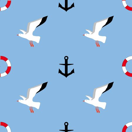 Seamless pattern: birds, lifebuoy and anchor on a blue background. Marine background. vector. illustration