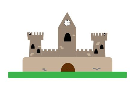 Cartoon medieval castle in flat vector style on a white background. illustration