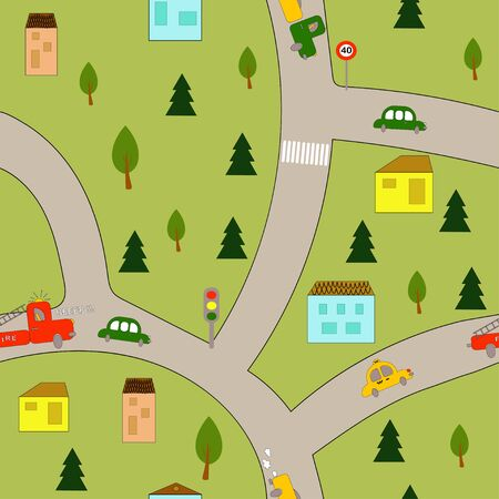 Seamless pattern: city map with cars, road, houses and trees. flat vector. illustration