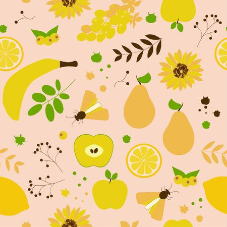 Seamless pattern: fruits, berries and flowers of yellow, green and brown color on a beige background. flat vector. illustration