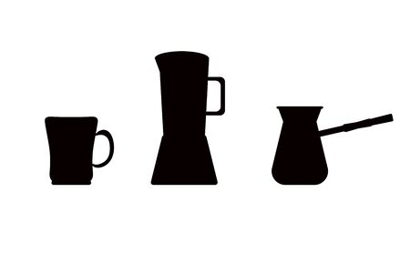 Silhouettes of mugs, turks and cappuccino maker in black on a white background. vector. illustration