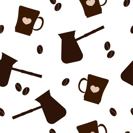 Seamless pattern: silhouettes of coffee beans, mugs and turks of brown color on a white background. vector. illustration
