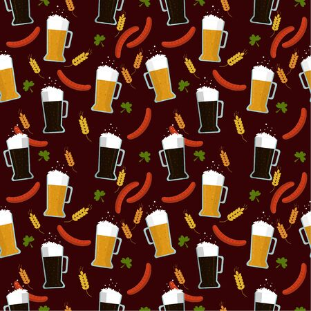 Seamless pattern: light and dark beer in a glass, barbecue and sausages on a brown background. flat vector. illustration