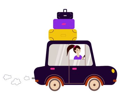 Girl driving a car goes on vacation on a white background. Flat vector. illustration Фото со стока - 138421389