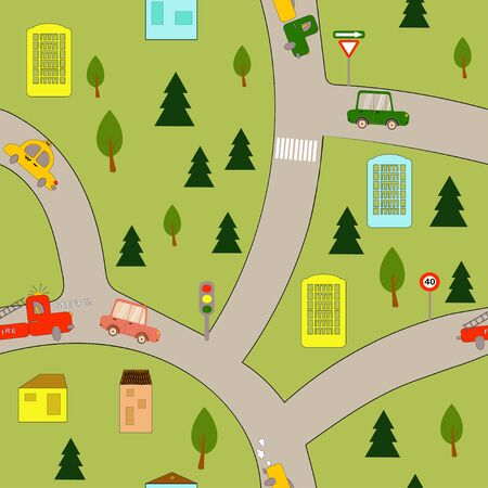 Seamless pattern: city with cars, houses and trees. flat vector. illustration Иллюстрация