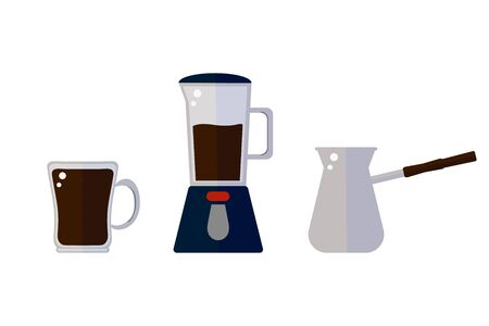 Cup with coffee, coffee maker and turk in flat vector style on a white background. illustration Иллюстрация