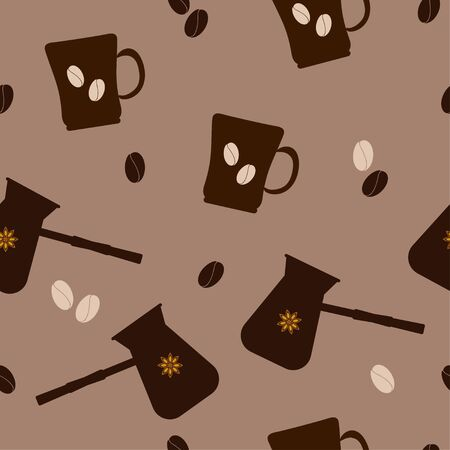 Seamless pattern: mug, cezve, coffee beans and star anise on a brown background. vector. illustration