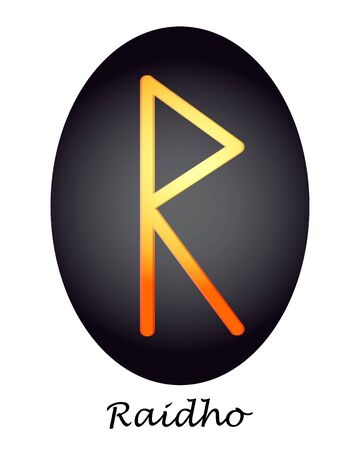 Rune of yellow and orange raidho on a dark oval. vector. illustration