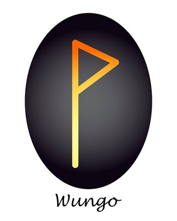 Rune wunjo yellow and orange on a dark oval. vector. illustration
