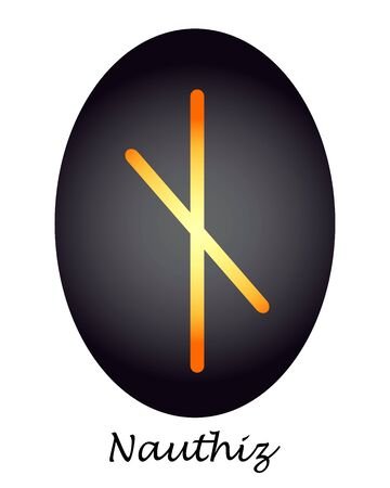 Magical Rune nauthiz yellow-orange on a black oval. vector. illustration
