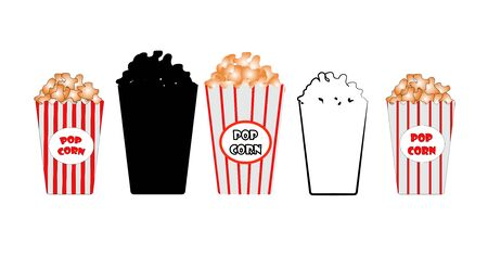 Box with popcorn on a white background in different versions. vector. illustration