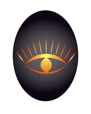 The all-seeing eye is yellow-orange in color against a dark background. vector. illustration