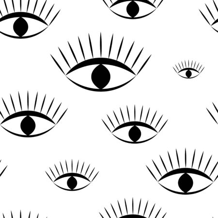 Seamless pattern: all-seeing eye in black on a white background. vector. illustration Иллюстрация
