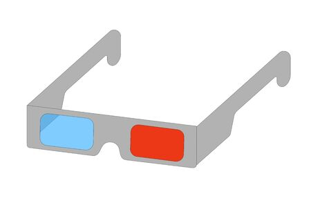 3 D glasses of gray color with red and blue glass on a white background. vector. illustration