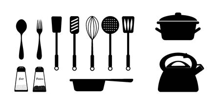 Set of utensil in black on a white background. vector. illustration Фото со стока - 139303957