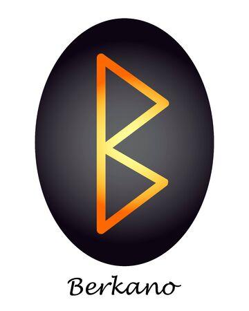 Scorpion rune Berkano orange on a black oval. vector. illustration Фото со стока - 139303966