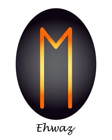 Scrapbooking orange Ehwaz rune on a black oval. vector. illustration Фото со стока - 139303972