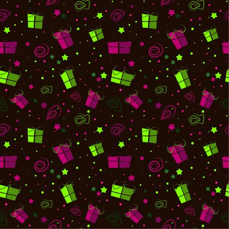 Colored seamless festive pattern with gifts and doodles on a dark background. Can be used as packaging. vector. illustration Иллюстрация