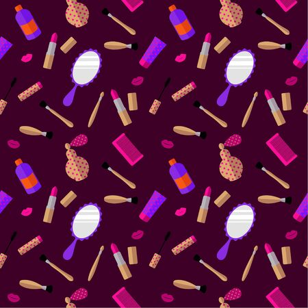 Seamless pattern: cosmetics and womens accessories on a purple background. flat vector. illustration