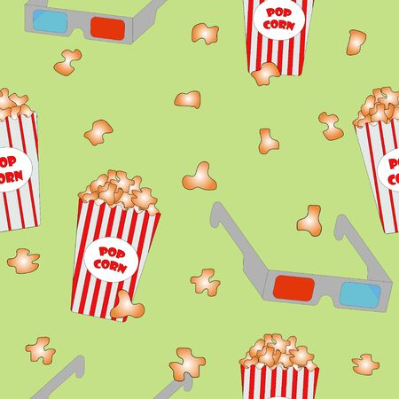 Seamless pattern: popcorn, 3d glasses on a green background. flat vector. illustration Фото со стока - 140369004