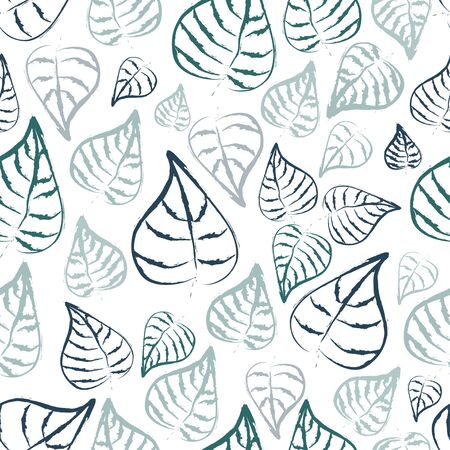 Seamless pattern: textural tropical blue leaves in blue on a white background. vector. illustration
