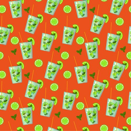 Seamless pattern: mojito cocktail in vector flat style on a bright orange background. illustration Иллюстрация