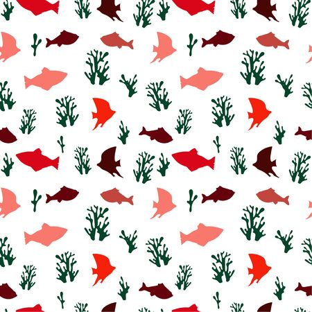 Seamless pattern: silhouettes of colored fish and coral on a white background. Marine background. vector. illustration